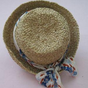 Straw hat w/ red/white/blue scarf, Sz S